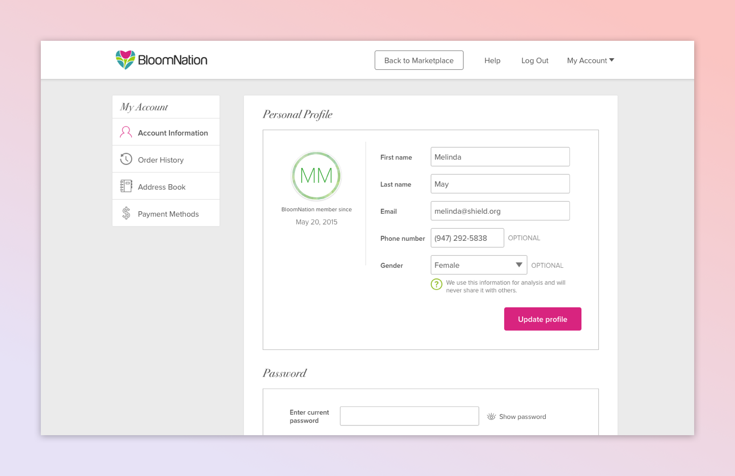 Account Management (BloomNation)